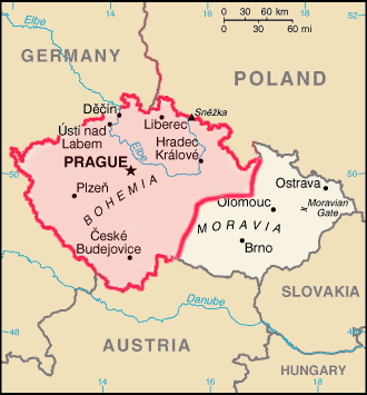 Map showing where Bohemia is